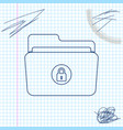 folder and lock line sketch icon isolated on white vector image vector image