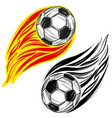 football soccer ball flame sports game emblem vector image