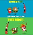 Funny friendly cartoon banners promoting fast food vector image vector image