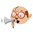 funny human emoji holding a megaphone on white vector image vector image