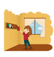 girl with book in room a vector image