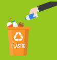 hand pick plastic bottle waste and colorful vector image