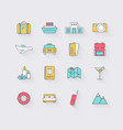 line icons set in flat design elements vacation vector image vector image
