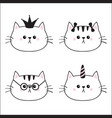 linear cat head face silhouette icon set crown vector image vector image