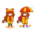 little girls in coats and big knitted scarves vector image vector image