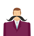 Male big black mustache of a man in a suit vector image vector image