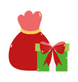 merry christmas red bag and gift decoration icon vector image vector image