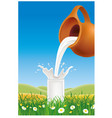 milk pouring to glass on grass field vector image