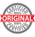 original stamp 100 certified original badge vector image vector image