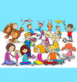playful children cartoon characters group vector image vector image