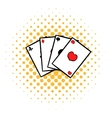 Playing cards icon comics style vector image vector image