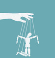 puppet marionette on ropes is broken man vector image vector image
