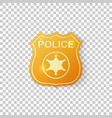realistic golden police badge isolated object vector image vector image