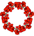 round wreath of flowering red poppies and green vector image vector image