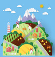 rural landscape with countryside houses vector image vector image
