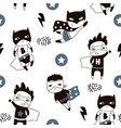 seamless pattern with cute boy hero creative vector image vector image