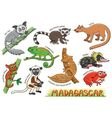 set cute animals cartoon in madagascar vector image vector image