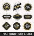 Set of frame and label with vintage sunburst vector image