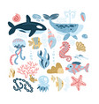 set sea animals - seashells fish whale vector image