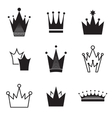 Simple crown icon set vector image vector image