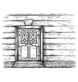sketch hand drawn old double rectangular wooden vector image vector image