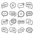 speech and chat bubble icons set vector image vector image