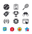tennis ball and rackets icons laurel wreath vector image vector image