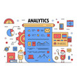 thin line analytics poster banner template vector image