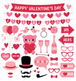 valentines day design elements and decoration set vector image