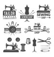 vintage monochrome pictures and labels for tailor vector image vector image