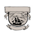 wolf running over pirate ship crest scratchboard vector image vector image