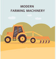 yellow tractor plowing field - agriculture vector image vector image