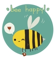 Bee happy postcard vector image