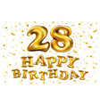 28th birthday celebration with gold balloons and vector image vector image
