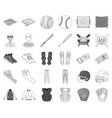 baseball and attributes monochromeoutline icons vector image vector image