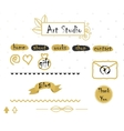Blog template elements in gold and grey vector image vector image
