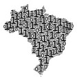 brazil map mosaic of binary digits vector image