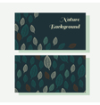 Business card set with green stylish leaves vector image