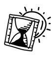 business hourglass hand drawn icon design outline vector image