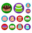 cake and dessert flat icons in set collection for vector image vector image