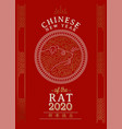 chinese new year 2020 rat card gold asian line art vector image vector image
