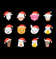 cute farm animal wearing christmas santa hat flat vector image vector image
