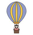 cute female monkey in balloon air hot vector image vector image