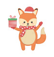 cute fox with hat and gift merry christmas vector image vector image