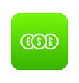 euro dollar pound coin icon digital green vector image