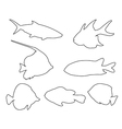 fish set path on white background vector image vector image