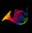 french horn instrument cartoon music graphic vector image vector image