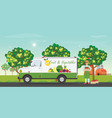 fresh fruit delivery car with farmers vector image