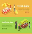 fresh juice and coffee tea umbrella carts set vector image vector image