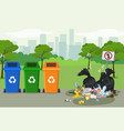 garbage dump with rubbish for recycling in park vector image vector image